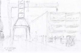 Colin H. Davidson - BELFAST DOCKS - Pencil on Paper - 5 x 8 inches - Signed