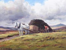 Charles McAuley - LOADING THE TURF - Oil on Canvas - 12 x 16 inches - Signed