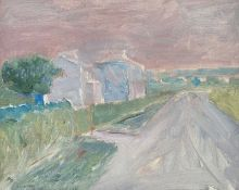 Basil Blackshaw, HRHA HRUA - HOUSES, GLENAVY - Oil on Canvas - 16 x 20 inches - Signed