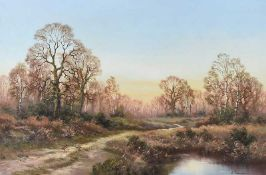 Wendy Reeves - PHEASANTS ON THE PATH BY THE RIVER - Oil on Canvas - 20 x 30 inches - Signed