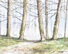 Andy Saunders - MISTY WOODS & STAGS - Watercolour Drawing - 8 x 10 inches - Signed