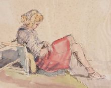Maurice Canning Wilks, ARHA RUA - GIRL RESTING - Watercolour Drawing - 9 x 11.5 inches - Signed
