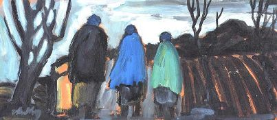 Markey Robinson - THREE SHAWLIES ON THE PATH HOME - Oil on Board - 6.5 x 14.5 inches - Signed
