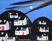 Patsy Dan Rodgers - MY ISLAND OF TORY AT NIGHT - Oil on Board - 8 x 10 inches - Signed