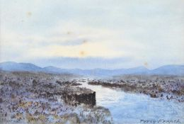 William Percy French - RIVER & BOGLANDS, CONNEMARA - Watercolour Drawing - 7 x 10 inches - Signed
