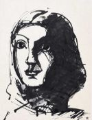 Colin Middleton, RHA RUA - PORTRAIT OF A GIRL - Pen & Ink Drawing - 10 x 7 inches - Signed in