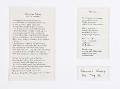 Seamus Heaney - BLACKBERRY PICKING & SLOE GIN, TWO POEMS - Printed Black Ink - 7 x 9 inches -