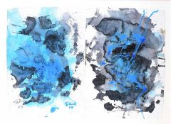 Ken Giles - BLACK ON BLUE - Diptych Watercolour Drawing - 30 x 42 inches - Signed