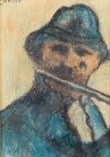 William Conor, RHA RUA - PLAYING THE FLUTE - Wax Crayon on Paper - 10 x 7 inches - Signed
