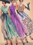 Gladys Maccabe, HRUA - THREE FASHION MODELS - Watercolour Drawing - 12 x 9 inches - Signed