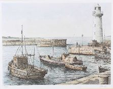 James Dunlop - DONAGHADEE HARBOUR, COUNTY DOWN - Limited Edition Coloured Print (74/250) - 13 x 16.5