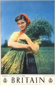 - NORTHERN IRELAND IN THE FLAX FIELDS, TRAVEL ASSOCIATION ADVERTISING POSTER - Coloured Print - 29.5