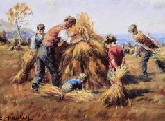 Charles McAuley - STACKING HAY - Coloured Print - 6 x 8 inches - Unsigned