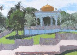 Colin Watson - TOMB OF SULTAN BOLKIAH, BRUNEI - Egg Tempura on Board - 22 x 32 inches - Signed in