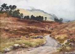 Wycliffe Egginton, RI RCA - THE ROAD TO THE LOCHS, GLEN LYON, SCOTLAND - Watercolour Drawing - 10