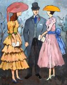Gladys Maccabe, HRUA - RACE DAY - Oil on Board - 21 x 15 inches - Signed