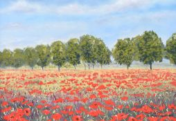 Lawrence Chambers - FIELD OF POPPIES - Pastel on Paper - 9.5 x 13 inches - Signed
