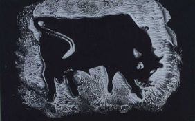 Anthony Weir - BLACK BULL - Monotype Print - 5 x 8 inches - Signed Verso