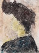 William Conor, RHA RUA - PORTRAIT OF A WOMAN - Wax Crayon on Paper - 4.5 x 3 inches - Signed