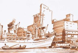 Maurice Canning Wilks, ARHA, RUA - BELFAST DOCKS - Pen & Ink Drawing - 5.5 x 8 inches - Signed