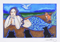 Phillip Martins - MERMAID OF THE WEST - Gouache on Board - 8.5 x 13 inches - Signed