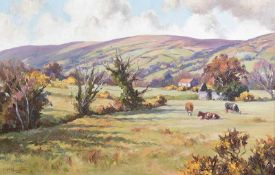 Donal McNaughton - CATTLE GRAZING IN THE GLENS - Oil on Board - 16 x 24 inches - Signed