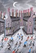 John Stewart - STREET GAMES - Acrylic on Board - 14 x 10 inches - Signed in Monogram