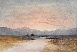 William Percy French - TURF STACKS & BOGLANDS - Watercolour Drawing - 6.5 x 9 inches - Signed in