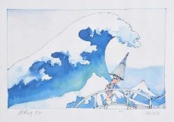 Harold Bisby - IN THE HOLLOW OF THE GREAT WAVE AT KANAGAWA - Limited Edition Coloured Print (76/250)