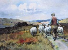Charles McAuley - DRIVING SHEEP - Coloured Print - 6 x 8 inches - Unsigned