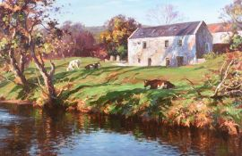 Donal McNaughton - CATTLE GRAZING BY THE RIVER - Oil on Board - 20 x 30 inches - Signed