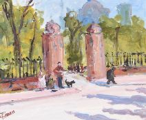 Terence C. Crosby - BUSKERS AT THE PARK ENTRANCE - Acrylic on Board - 14 x 16 inches - Signed
