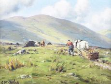 Charles McAuley - COLLECTING TURF IN THE GLENS - Oil on Canvas - 14 x 19 inches - Signed