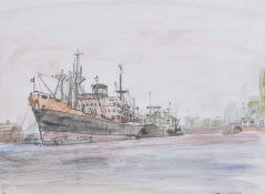 Maurice Canning Wilks, ARHA RUA - QUAY SIDE, BELFAST DOCKS - Watercolour Drawing - 9 x 11.5 inches -