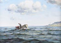 Charles McAuley - CHECKING THE LOBSTER POTS - Oil on Canvas - 12 x 18 inches - Signed