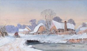 G.J. Knox - WINTER COTTAGES - Watercolour Drawing - 12 x 19 inches - Signed