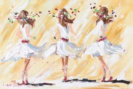 Lorna Millar - THREE DANCERS - Oil on Board - 20 x 30 inches - Signed
