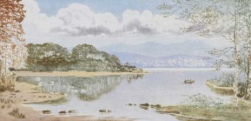 Robert Cresswell Boak, ARCA - LOUGH REFLECTIONS - Coloured Etching - 5 x 9.5 inches - Signed