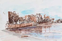 Maurice Canning Wilks, ARHA RUA - BELFAST DOCKS - Watercolour Drawing - 9 x 13 inches - Signed