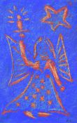 Gerard Dillon - ANGEL - Woodblock Coloured Print with Wax Crayon - 6 x 3.5 inches - Signed in
