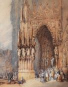 Edward S. Cole - RATISBONE CATHEDRAL - Watercolour Drawing - 17.5 x 14 inches - Unsigned