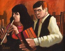 George Callaghan - ACCORDIAN & FLUTE - Acrylic & Oil on Canvas - 8 x 10 inches - Signed