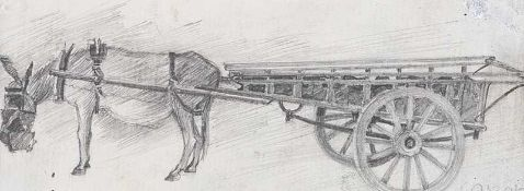 William Conor, RHA RUA - DONKEY & CART - Pencil on Paper - 2 x 5 inches - Signed