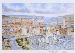 Colin Gibson - BELFAST FROM WINSOR HOUSE - Limited Edition Coloured Print (124/500) - 11 x 17 inches