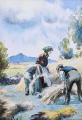 Charles McAuley - GATHERING HAY - Coloured Print - 8 x 6 inches - Unsigned