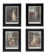 SET OF FOUR COLOURED ENGRAVINGS