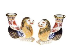 PAIR OF ROYAL CROWN DERBY CANDLE HOLDERS