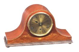 INLAID MAHOGANY MANTEL CLOCK