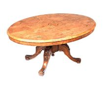 INLAID WALNUT OVAL COFFEE TABLE