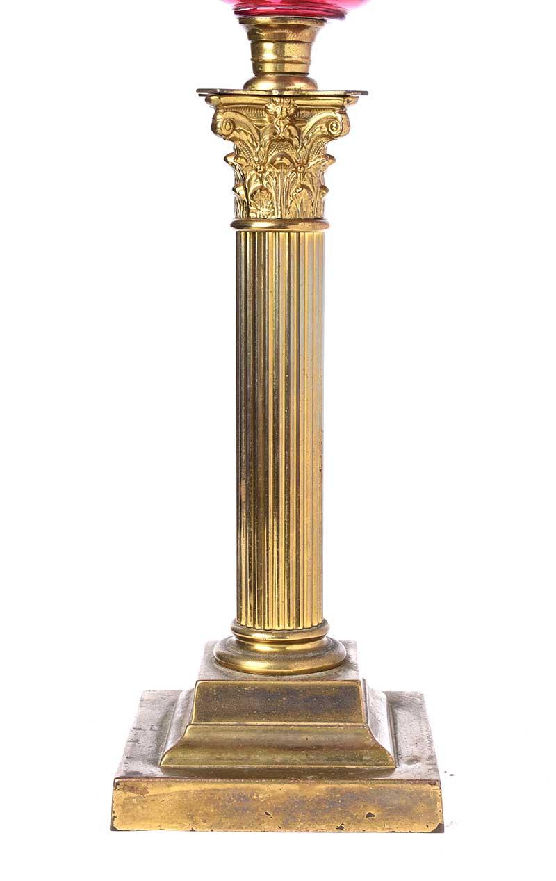 CORINTHIAN PILLAR OIL LAMP - Image 3 of 3